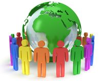Earth planet globe and people. 3D render. Royalty Free Stock Photo