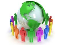 Earth planet globe and people. 3D render. Royalty Free Stock Image