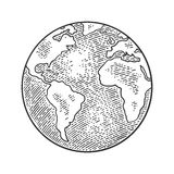 Earth planet globe. Vector black vintage engraving illustration. Isolated on a white background. For web, poster, info graphic Royalty Free Stock Photo