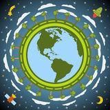 Earth planet globe. Vector. Royalty Free Stock Photography