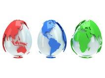 Earth planet globes like eggs. 3D render. On white background. Easter egg Stock Photography