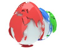 Earth planet globes like eggs. 3D render. On white background. Easter egg Royalty Free Stock Photos