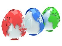 Earth planet globes like eggs. 3D render. Stock Photography