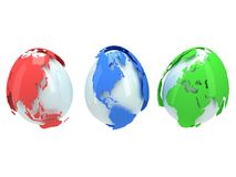 Earth planet globes like eggs. 3D render. Stock Photos