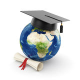 Earth planet with graduation. 3d illustration of Earth planet with graduation cap Stock Photography
