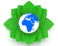 Earth Planet and green leafs over a white backgrou. Nd (Ecology Concept Royalty Free Stock Photography
