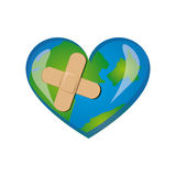 earth planet heart with band aid icon Royalty Free Stock Photography