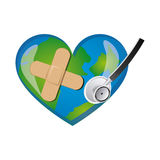 Earth planet heart with stethoscope and band aid icon Stock Image