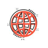 Earth planet icon in comic style. Globe geographic vector cartoon illustration pictogram. Global communication business concept. Splash effect royalty free illustration