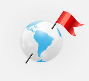 Earth Planet Icon with Red Flag Vector Royalty Free Stock Photos