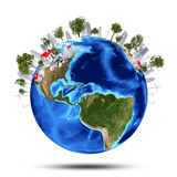 Earth planet image with buildings on surface Royalty Free Stock Images