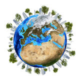 Earth planet image with buildings on surface Stock Photo
