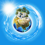 Earth planet image with buildings on surface Royalty Free Stock Image
