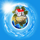 Earth planet image with buildings on surface Royalty Free Stock Photography