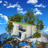 Earth planet image with house on surface Stock Image