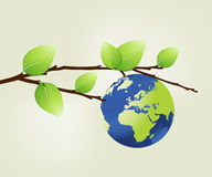 Earth planet with leaves stock illustration