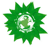 Earth planet with leaves Royalty Free Stock Image