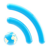 Earth planet like blue RSS icon Stock Photo