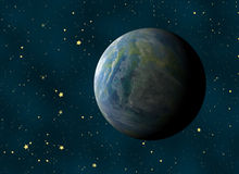 Earth planet on a many cosmos stars backgrounds. This is no nasa photo, this is render image Stock Photo