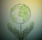 Earth planet map created from the leaves and looks like spring tree growing on soil, green planet eco concept, Stock Photos