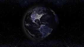 Earth planet at night with urban lights areas, america view illu Royalty Free Stock Photos