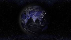 Earth planet at night with urban lights areas, asia view illustr. Ation, elements of this image furnished by NASA Royalty Free Stock Photography