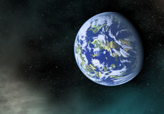 Earth planet with one side shadow on cosmos stars backgrounds. Earth planet with one side shadow on a cosmos stars backgrounds Royalty Free Stock Images