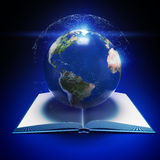 Earth planet and open book. 3d rendered illustration of Earth planet and open book. Education internet e-learning concept Stock Image