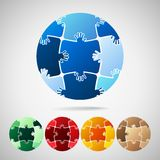 Earth Planet from puzzle pieces stock illustration