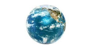 Earth planet from puzzles, animation concept. 3D rendering isolated on white background