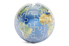 Earth planet from puzzles, 3D rendering Royalty Free Stock Photo