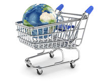 Earth planet in the shopping cart. 3d illustration of Earth planet in the shopping cart.  on white Stock Photography