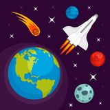 Earth planet in space concept background, flat style stock illustration