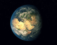 Earth. Planet Earth in space. Eurasia and Africa royalty free illustration