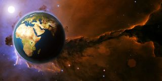 Earth planet from space on a star field and nebula stock images