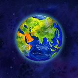 Earth planet in space view of Asia and Europe - hand drawn watercolor illustration. Earth planet in space view of Asia and Europe - square hand drawn watercolor Stock Photos