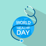 Earth Planet With Stethoscope Health World Day Stock Images