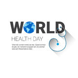 Earth Planet Stethoscope Health World Day Global Holiday Banner With Copy Space Stock Photos