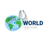 Earth Planet Stethoscope Health World Day Global Holiday Banner With Copy Space Royalty Free Stock Photography