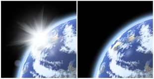 Earth planet and the sun Royalty Free Stock Image