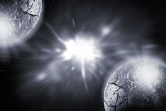 Earth planet in sun rays Stock Image