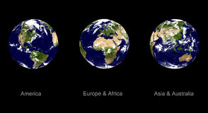 Earth planet, three angles Stock Photo