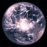 Earth planet with three huge hurricanes, collage stock photography