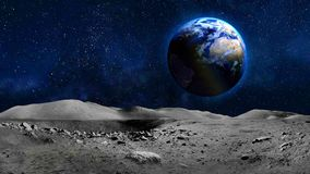 Earth planet view from moon surface. Elements of this image provided by NASA stock photography