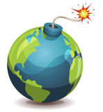 Earth Planet Warning Bomb. Illustration of a cartoon earth planet bomb icon about to explode with burning wick, isolated on white Stock Photos