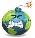 Earth Planet Warning Bomb Character Stock Image