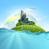 Earth planet in water Royalty Free Stock Photo