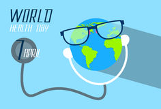 Earth Planet Wearing Glasses Stethoscope Health World Day Royalty Free Stock Photo