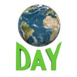 Earth day celebration. Earth planet on white background with Day word royalty free illustration