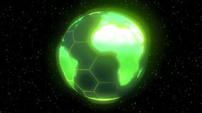 Earth planet world high tech display green stock footage